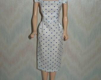 "Handmade 11.5"" fashion doll sheath - vintage style white and blue dot"