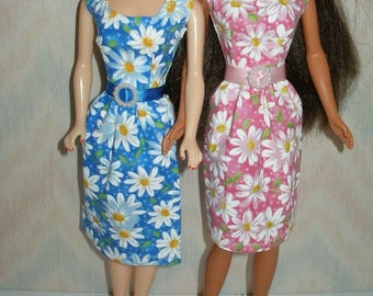 "Handmade 11.5"" Fashion doll clothes - Your Choice -- blue or pink and white daisy print dress"