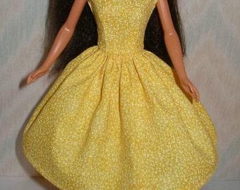 "Yellow handmade 11.5"" fashion doll dress"