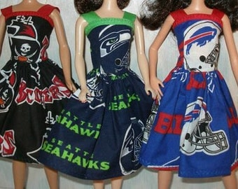 """Handmade 11.5"""" fashion doll clothes - Your Choice - Choose 1 - Buccaneers, Seahawks, Rams or Bills"""