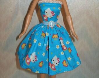 "Handmade 11.5"" fashion doll clothes - blue kitty dress"