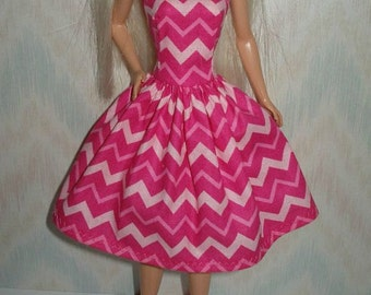 "Handmade 11.5"" fashion doll clothes - pink chevron print dress"