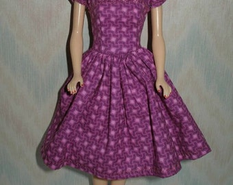 "Handmade 11.5"" fashion doll clothes - bright pink purple dress"