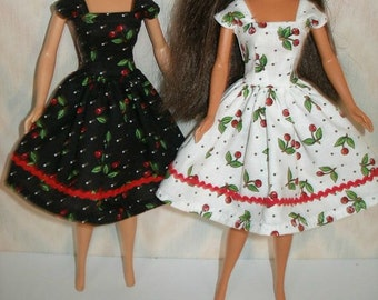 "Handmade 11.5"" fashion doll clothes - Choose 1 - your choice of either black or white cherry print dress"