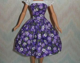Handmade Barbie doll dress - purple and white floral