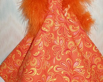 "Handmade 11.5"" fashion doll clothes - orange and yellow print gown with orange boa"