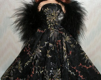 """Handmade 11.5"""" fashion doll clothes - black floral lace gown with boa"""