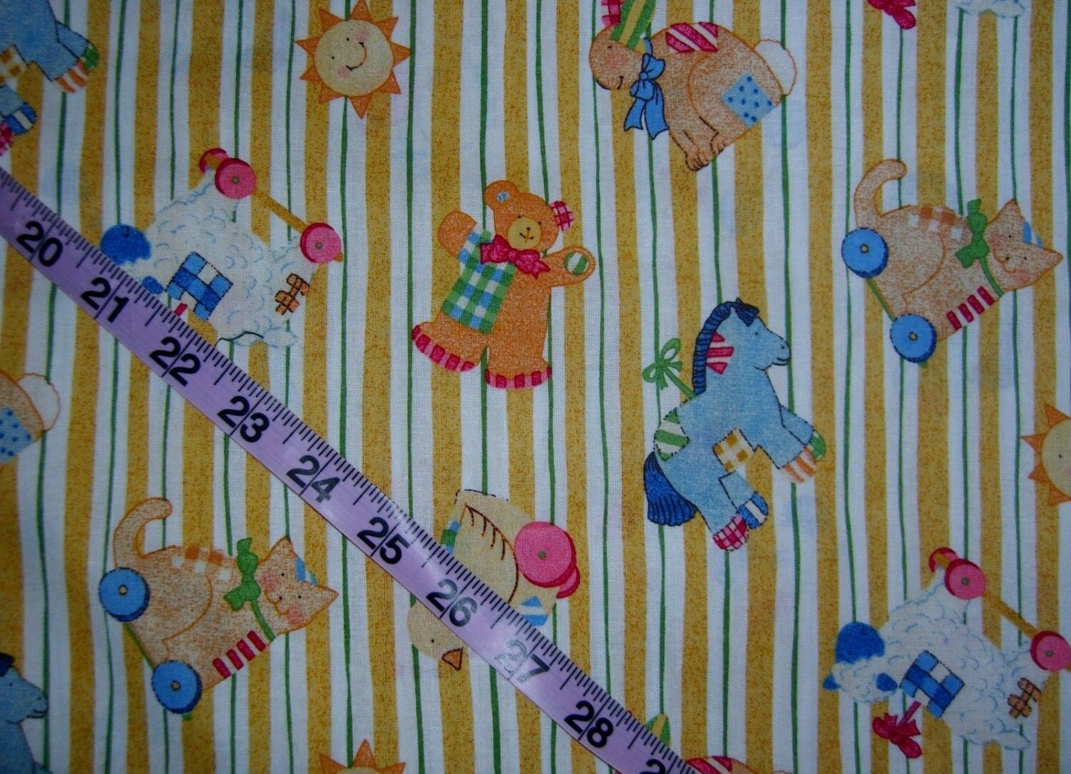 Childrens fabric for baby nursery pull toys sheep bunny for Childrens cotton fabric by the yard