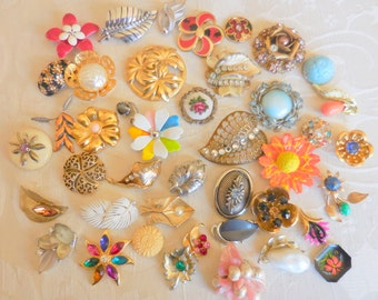 Destash FLOWER Garden Lot Craft Altered Assemblage for Repurposing Jewelry Making