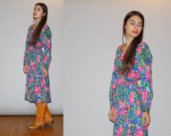 1960s Neon Floral and Paisley Long Sleeve Psychedelic Mod Midi Dress  - Vintage 60s Midi Dress   - WD0901