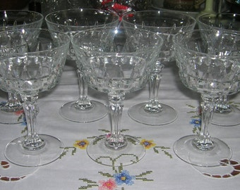7 Cristal D'Arques/Durand Champagne/Tall Sherbets Chantelle Pattern