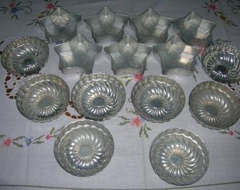 Vintage Mini Aluminum Fluted Bundt & Star Shaped Cake Pans Molds  15 Pieces