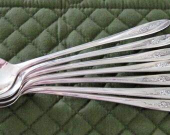 7 Wm.Rogers International Silverplate Iced Tea Spoons Lovely Rose Pattern Circa 1960's