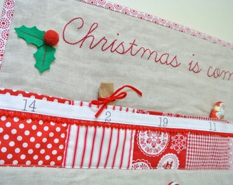 Christmas quilted advent calendar - Scandinavian red & white with linen Quilted with 24 pockets. Ready To Ship!