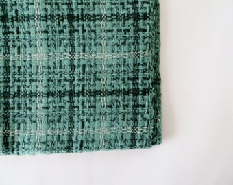 Vintage Fabric / 1950s Fabric 1960s Fabric / Wool Fabric / Plaid Fabric / Tweed Fabric Fall Winter Cape Coat Pillow Fabric