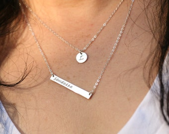 Set of two,Personalized Long bar necklace,Silver or Gold, Skinny Name Plate Contemporary Bridesmaid's jewelry, Initial Rectangle necklace