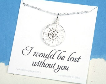 Sale silver compass necklace,compass necklace,large compass,message card,Friendship necklace,Graduation gift,best friends,bridesmaid gift