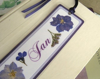 Custom Personalized Bookmark With Laminated Pressed Flowers Your Choice of Colors and Flowers