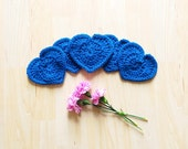 Christmas in July Sale!! - Royal blue heart shaped cute coasters - set of 5 crocheted with 100% wool Valentine coasters