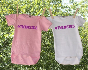 Twins // Twinsies  set of two Infant Bodysuit for twins