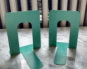 Turquoise Green Colored Metal Small Library Bookends Book Holders Shelving Organizer