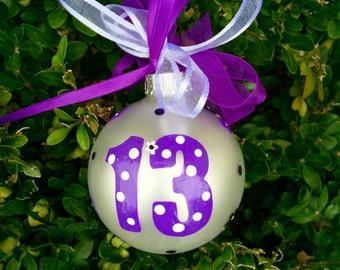 Teenager Birthday Ornament, Thirteenth Birthday, 13, Hand Painted, Personalized Christmas Bauble, Birthday Gift for Teen, Milestone Birthday