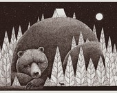 Bear in the woods silkscreen
