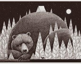 Bear in the woods silkscreen