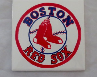 Boston Red Sox Hand Painted Tile Coaster Trivet Wall Decor