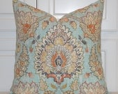 Decorative Pillow Cover - Floral Damask - Accent Pillow - Orange Aqua Gray Tan - Toss Pillow - Chair Pillow