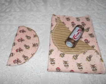 Baby Boy Sock Monkey - Receiving Blanket and Burp Cloth