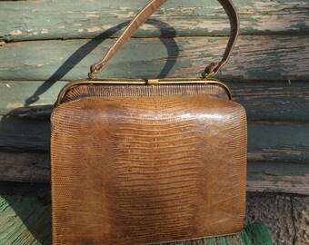 Palizzio Authentic Brown Alligator/ Lizard Handbag 1960s