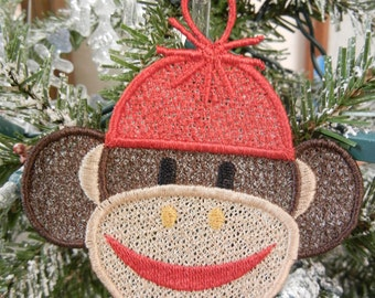 Sock Monkey Ornament Free Standing Lace Christmas