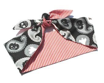 Vintage Inspired Headscarf, Paisley Ghost and Pumpkins, Retro, Rockabilly, Bandana