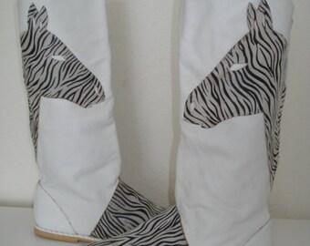 Vintage Zebra Boots, Vintage Boots, Leather Boots, Zebra Shoes, Zebra