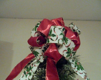 Small Christmas tree topper bow cream ribbon w/Hollyberry design and shiny red lame' thin pencil tree, table top tree