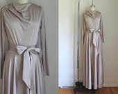 Reserved////50% OFF...last call // vintage 1970s maxi dress - CHAMPAGNE taupe drap jersey dress / S-M