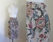 vintage 1980s novelty print skirt - PHEASANT bird & floral belted skirt / M