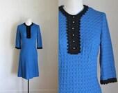 vintage 1960s crochet dress - BLUE BIRD sweater dress / S/M