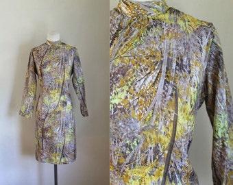 vintage 1960s novelty dress - BIRCH tree print wiggle dress / M/L