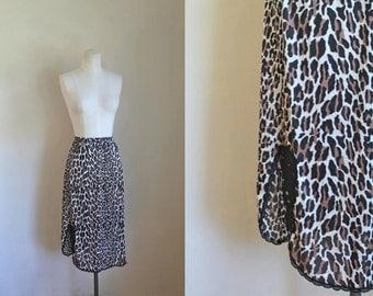 50% OFF...last call // vintage leopard print half slip - VANITY FAIR animal print nylon slip / S/M