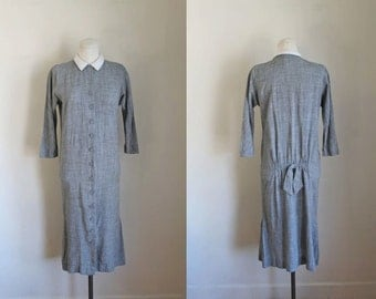 50% OFF...last call // vintage 1950s wiggle dress - ABBY KENT gray dress / xs (as is)