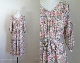 vintage 1970s floral dress - COSMOS FIELD boho dress / L-Xl