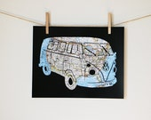 VW Bus Print // United States Map Art // Volkswagen Retro Poster