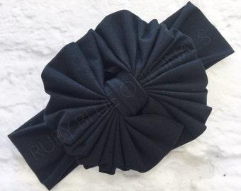 Messy Bow Head Wrap in Black Cozy Cotton