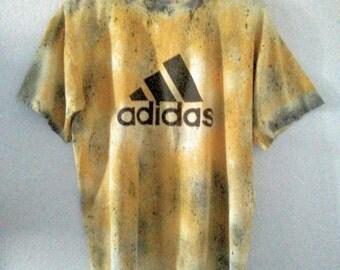 Adidas TShirt / Tee / Yellow and Black / Logo / Distressed / Athletic /Unique / Indie / Grunge / Rock N Roll / Unisex / Women / Men / Guys