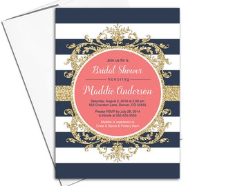 Gold, coral and navy bridal shower Invitation navy   striped invitation   wedding shower invites printed or printable - WLP00662