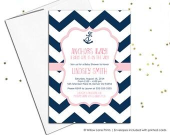 Chevron baby shower Invitation girls - pink and navy baby shower invite printable - DIY baby shower digital invitation - WLP00793