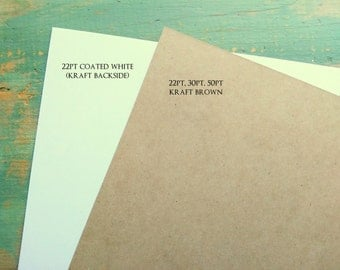 """25 chipboard sheets: 8.5 x 11"""" (216 x 279 mm) white or kraft brown chipboard, recycled, 22 pt (.022"""") or 30 pt (.030"""")"""