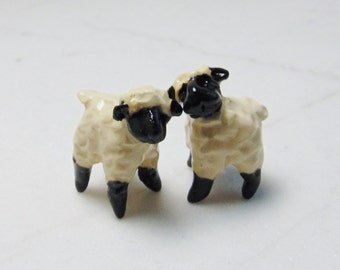 Sheep Terrarium Miniature - Lamb Figurines -Terrarium Miniature - Miniature Figurine - Pottery Animals - set of 2 studio choice